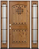 Rustic Knotty Alder Wood Entry Door with Sidelites #20, Right Hand
