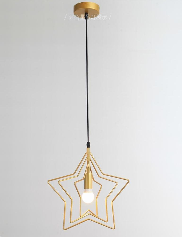 DEN Nordic creative personality restaurant entrance aisle five-pointed star chandelier study balcony bar chandelier,A,3 heads