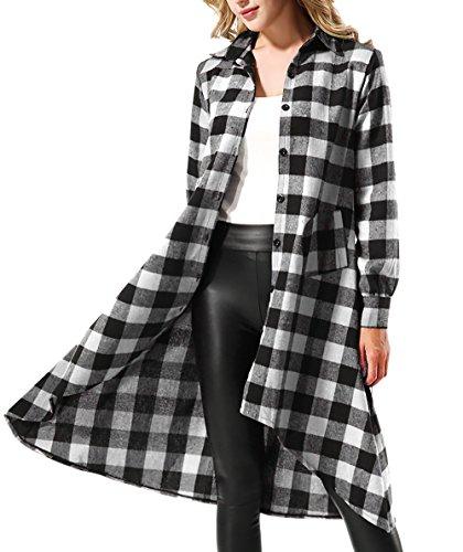 ff6363e9c7 Yidarton Women s Casual Long Sleeve Asymmetrical Plaid Tunic Tops Shirt  Dress