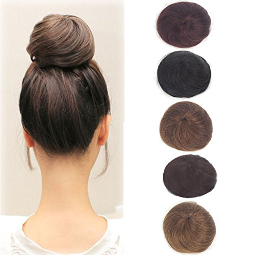 Women 100% Real Straight Human Hair Hand-woven Bun Clip in Hair Extensions Chignon
