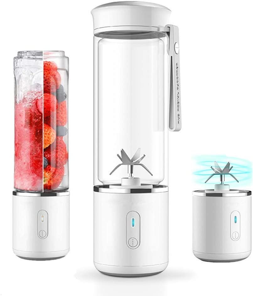 Portable Glass Smoothie Blender, HJA USB Rechargeable Personal Travel Blender, 17oz Detachable Mini Mixer Juicer Cup, Household Office Fruit Mixing Machine, FDA BPA Free White