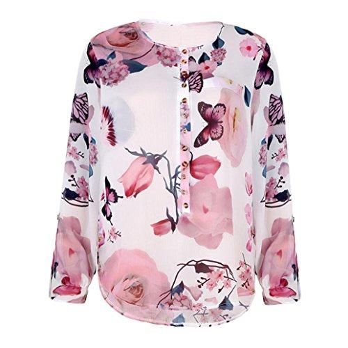 VJGOAL Femmes en Mousseline De Soie Top Mode Casual Floral Imprimé Bouton  T-Shirt en Mousseline De Soie IrréGulièRe Hem Top Blouse  Amazon.fr   Vêtements et ... 6e7a8e2209ec