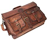 Leather Native 18'' Mens Genuine Vintage Brown Leather Messenger Bag Shoulder Laptop Bag Briefcase