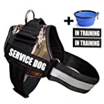 Fairwin Service Dog Vest Harness K9 No Pull Adjustable with Reflective SERVICE DOG Patches S : Fits Girth 16 21in Camouflage