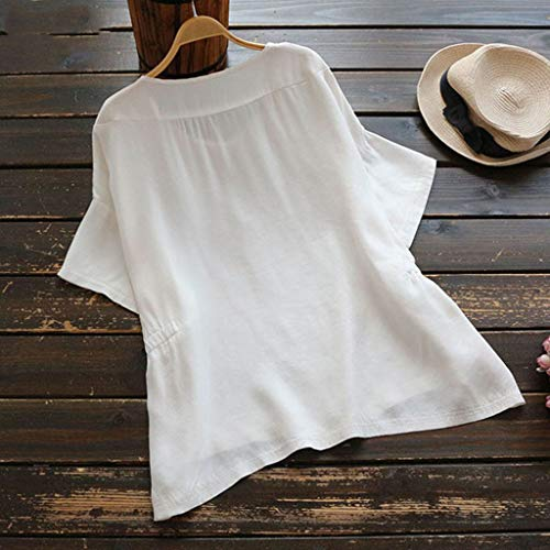 Blouse Ras Femmes Top Et Coton Jutoo Lâche Lin Femmes shirts Blanche Cou T Du Courtes Manches 7wxqx5d8
