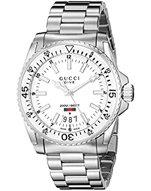 Dive Analog Display Swiss Quartz Silver-Tone Men's Watch(Model:YA136302)