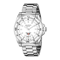 Gucci Dive Analog Display Swiss Quartz Silver-Tone Men's Watch(Model:YA136302)
