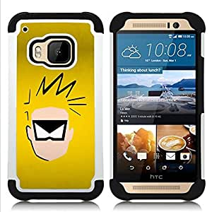 BullDog Case - FOR/HTC ONE M9 / - / Superhero Face /- H??brido Heavy Duty caja del tel??fono protector din??mico - silicona suave
