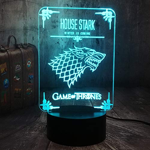(Game of Thrones Winter is Coming House Stark of Winterfell Direwolf 3D LED Acrylic Optical Illusion Night Light A Song of Ice and Fire Home Room Decor Cool Table Lamp(House Stark))