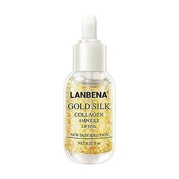 LANBENA Essence, nulala suero anti-envejecimiento para el cuidado de la piel, ampollas de colágeno de seda dorada esencia original para aclarar manchas ...