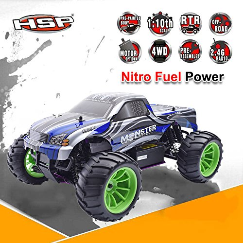 Toy, Play, Game, HSP 94108 RC Racing Truck Nitro Gas Power 4wd Off Road Monster Truck 1/10 Scale High Speed Hobby Remote Control Car gift for boy, Kids, - Trucks Control Nitro Remote