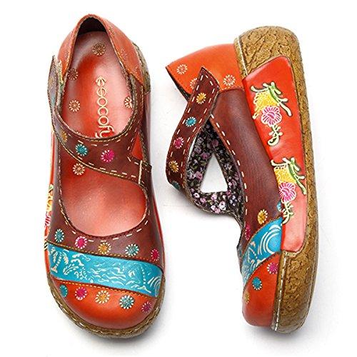Muli Signore Socofy, Sandali Slip-on Pantofole Di Pelle Estivi Pantofola Zoccoli Depoca Alta Cima Fiori Espadrillas Scarpe Fannullone Pantofole Braun_c