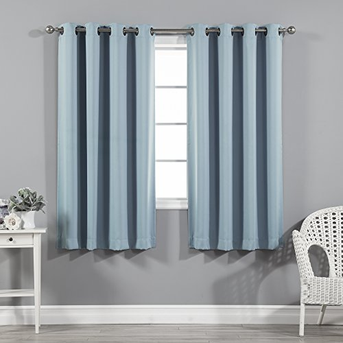 Best Home Fashion Thermal Insulated Blackout Curtains - Antique Bronze Grommet Top - Ocean- 52