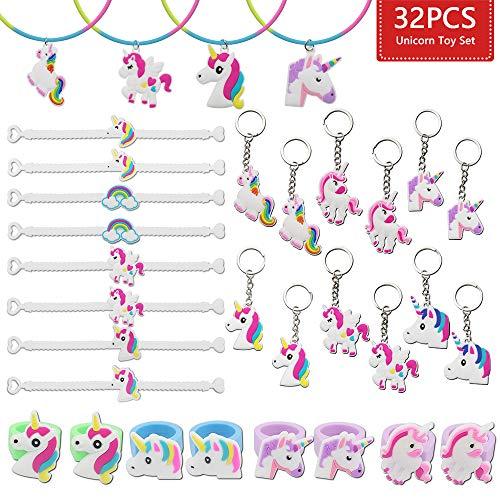 JUSTIDEA 32 Pcs Unicorn Bracelets Wristband, Unicorn keychain keyring Unicorn ring Unicorn Necklace Unicorn Birthday Party Favors Supplies for Kids Girls -
