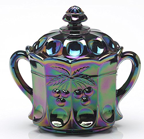 Cracker (Cookie) Jar - Cherry & Cable Pattern Mosser Glass US (Black Amethyst Carnival) - Northwood Carnival Glass Patterns