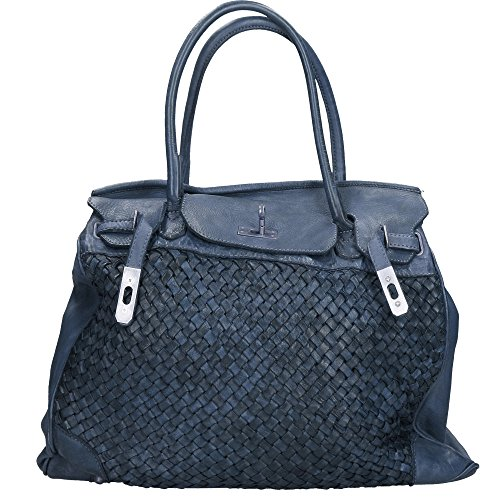 Italy Leather Cm In In Chicca 39x33x15 Borse Blue Genuine Braided Vintage Woman Made Bag Px7UqY