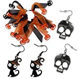 Unisex Halloween Accessory Bundle Set with Ponytail Holder & Earrings for Pierced Ears All Ages