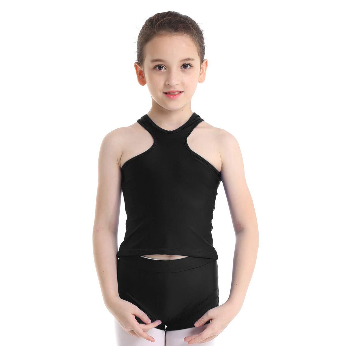 YiZYiF Enfant Fille Justaucorps de Gymnastique Danse Ballet V/êtement de Sport Gilet Haut sans Manche Veste et Dentelle Short de Danse Costume de Yoga Tenue 4-14 Ans