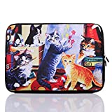 11.6-Inch to 12.5-Inch Neoprene Laptop Sleeve Case for 11 11.6 12 12.2 12.5' Inch MacBook air/Ultrabook/Chromebook/Tablet/Notebook (11.6-12.5 Inch, Colorful Cat)