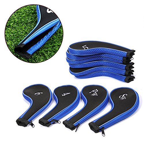 EConcept 5+5 PCs Golf Head Iron Cover Safety Storage Basic Accesory Bag Set Zipper Case Protector with Number Printed Suitable for Protect Golf Head from Scratch or Damage GLF-441SA
