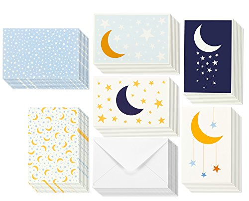 All Occasion Greeting Cards - Starry Night Moon Design - Blank Inside - Blue/Yellow/White - Includes 48 Cards and Envelopes - 4 x 6 inches