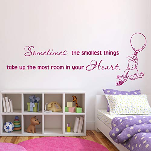 Wall Decals Winnie The Pooh Quote Wall Decal Sometimes The Smallest Things Take Up The Most Room Winnie The Pooh Wall Decal Nursery Classic Pooh Made in USA (Black And White Winnie The Pooh Wall Stickers)