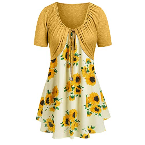 Women Dress Casual Short Sleeve Dress Floral Print Mini Dress Suits Bow Knot Bandage Top (Yellow 01, S)