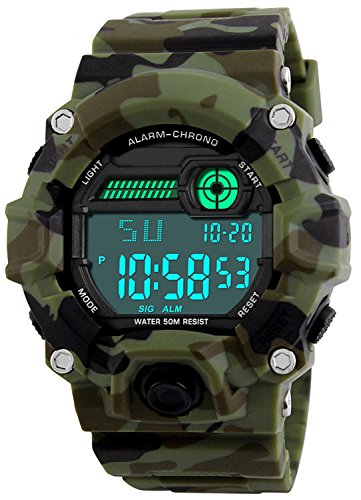 Kids Military Digital Watch with Timer - Waterproof Sports Watch Army Alarm Wrist Watches for Boys SEEWTA]()
