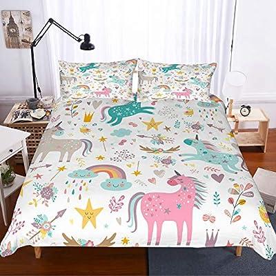PATATINO MIO Girls Unicorn Duvet Cover Set Twin Pink/Blue/Gray Unicorns Floral WoodlRainbow Gold Stars White Unicorn Bedding Set 2 Piece with 1 Pillow Sham No Comforter: Home & Kitchen
