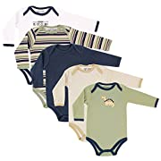 Luvable Friends Baby Infant 5-Pack Long Sleeve Hanging Bodysuit, Green Dinosaur, 3-6 Months