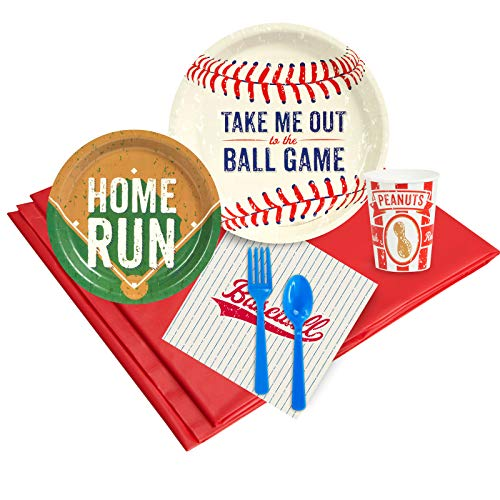 Baseball Time Childrens Birthday Party Supplies - Tableware Party Pack (24) ()