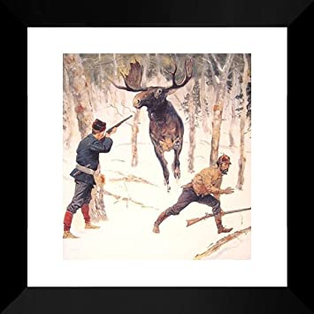 Amazon.com: The Moose Hunt 20x20 Framed Art Print by Remington ...