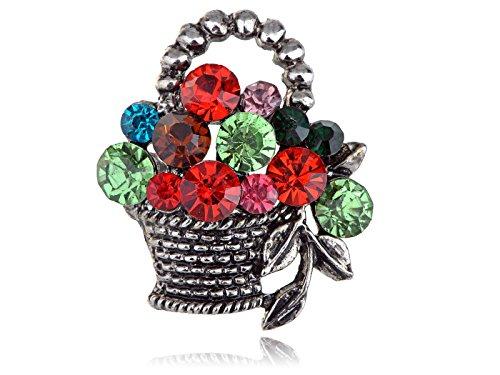 Colorful Crystal Rhinestone Gem Easter Fruit Flower Goodies Basket Pin Brooch