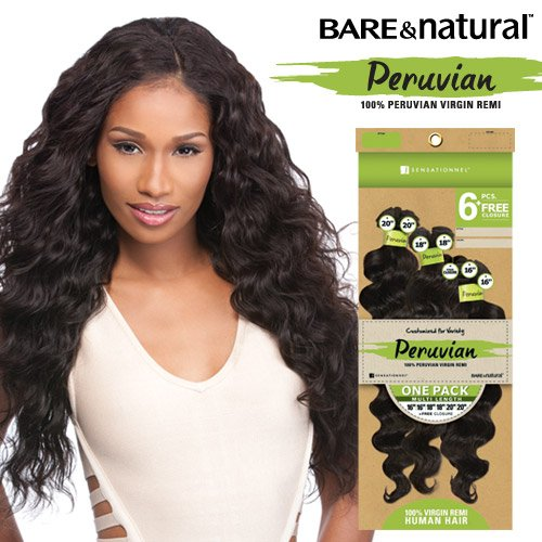 Sensationnel Unprocessed Peruvian Virgin Remy Human Hair Weave Bare&natural Loose Deep 6pcs [16