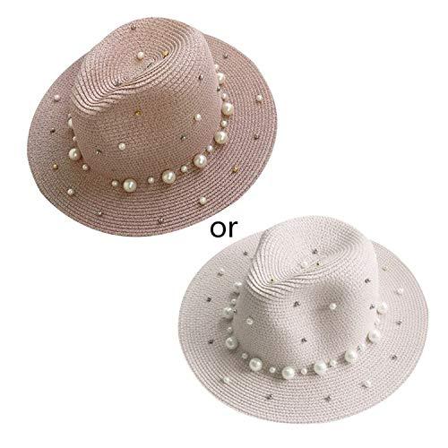 (Summer Straw Sun Visor Beach Hat Glitter Beaded Faux Pearl Bucket Cap,Pink)