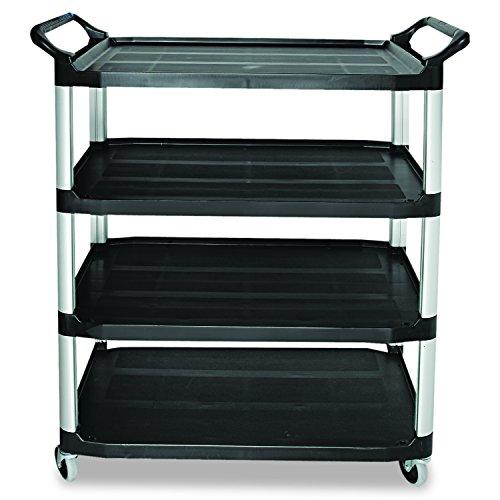 Rubbermaid Commercial 409600BLA Open Sided Utility Cart, Four-Shelf, 40-5/8w x 20d x 51h, Black - Four Utility Shelves
