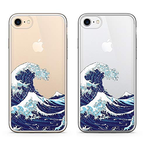 uCOLOR Japanese Wave Clear Case for iPhone 8/7, iPhone 6S Case iPhone 6 Transparent Slim Case Protective Transparent Soft TPU Bumper+Hard PC Back Clear Cover for iPhone 7/8/6S/6 (4.7