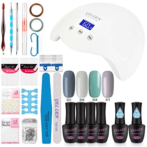 Gellen Gel Nail Polish Starter Kit with 24W LED lamp Base Coat Top Coat, Home Gel Manicure Tools Popular Nail Art Designs