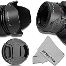 58MM Reversible Tulip Lens Hood + 58MM Center-Pinch Lens Cap for CANON REBEL (T5i T4i T3i T3 T2i T1i XT XTi XSi SL1), EOS (700D 650D 600D 1100D 550D 500D 100D) Cameras + Premium MagicFiber Microfiber Lens Cleaning Cloth