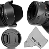 58MM Reversible Tulip Lens Hood + 58MM Center-Pinch Lens Cap for CANON Rebel (T6i T6 T6s T5i T5 T4i T3i T2i T1i XT XTi XSi)