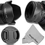 58MM Reversible Tulip Lens Hood + 58MM Center-Pinch Lens Cap for CANON Rebel (T6i T6 T6s T5i T5 T4i T3i T2i T1i XT XTi XSi)