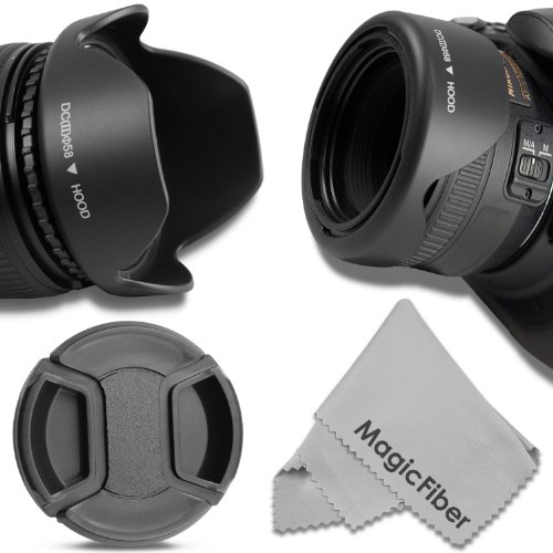 58MM Reversible Tulip Lens Hood + 58MM Center-Pinch Lens Cap