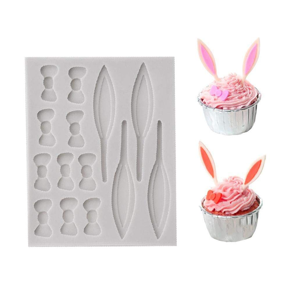 dem.w Silicone Cake Mold for Cake Decoration Jelly Pudding Candy Chocolate Dessert Easter Egg&Rabbits shape Easy Baking Tools Nonstick & Easy Release (Rabbit Shape)