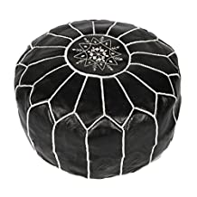 La Bohemia   Beautiful Handmade White Real Leather Footstool Pouf from Marrakech   Colour Black with White Stitching   Delivered unstuffed