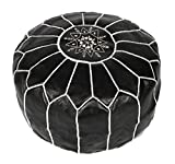 La Bohemia | Beautiful Handmade White Real Leather Footstool Pouf from Marrakech | Colour Black with White Stitching | Delivered unstuffed