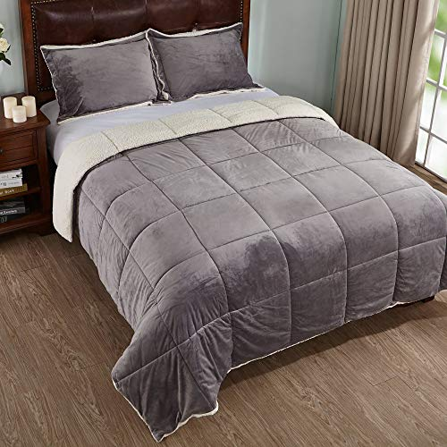 PEACE NEST 3-Piece Winter Sherpa Reversible Down Alternative Comforter Set with Pillow Shams, Queen Size, Grey]()