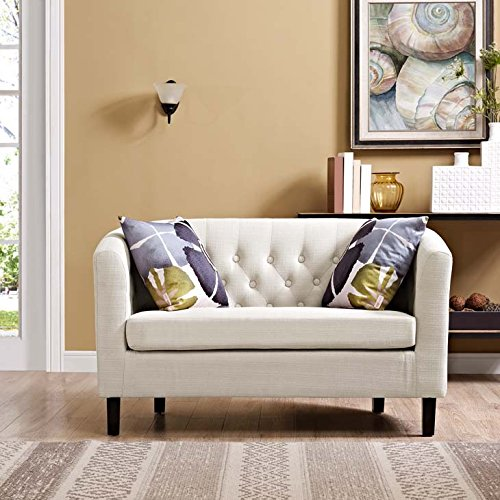 Modway Prospect Upholstered Contemporary Modern Loveseat In Beige