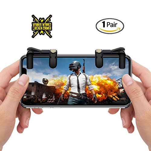 Mobile Game Controller Joystick Attachment for Android and iPhone Devices – Sensitive Shoot and Aim Triggers – PUBG, Knives Out, Rules of Survival Gamepad for Cell Phones – 1 Pair