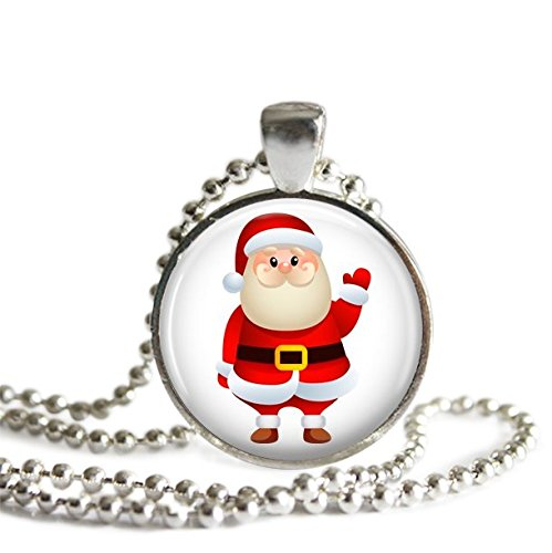 Santa Clause Glass Pendant Necklace