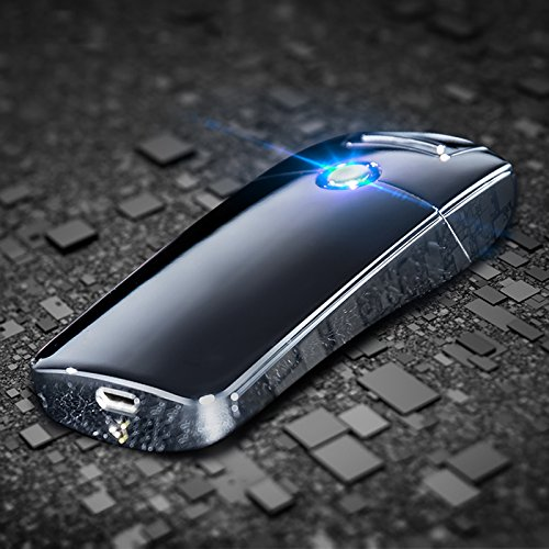 HaloVa Arc Lighter USB Rechargeable Lighter Electronic Coil Windproof Flameless, Safe, Silver
